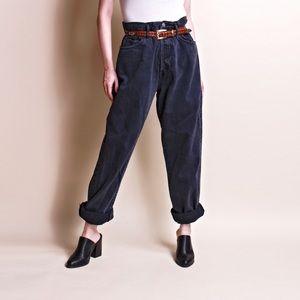 Vintage 80s black denim high waist paper bag jeans